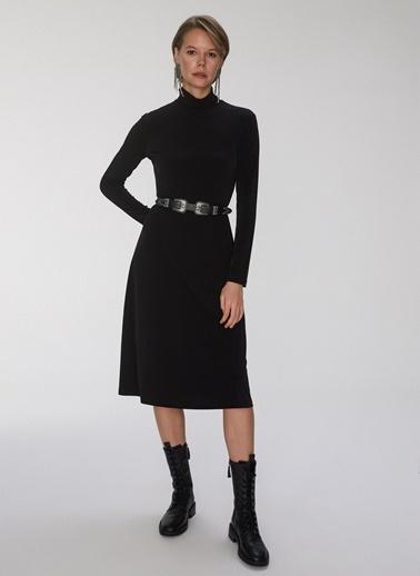 People By Fabrika Kemerli Bol Kesim Elbise Siyah